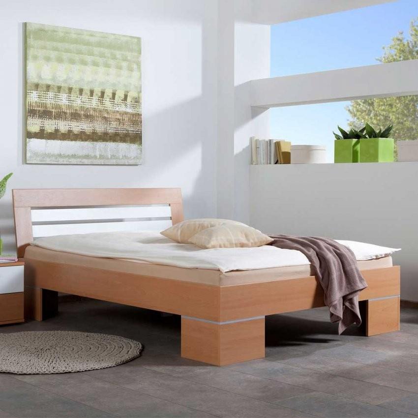 Niedriges Bett Solu In Buche Weiß 140X200  Pharao24 von Bettgestell 140X200 Buche Bild