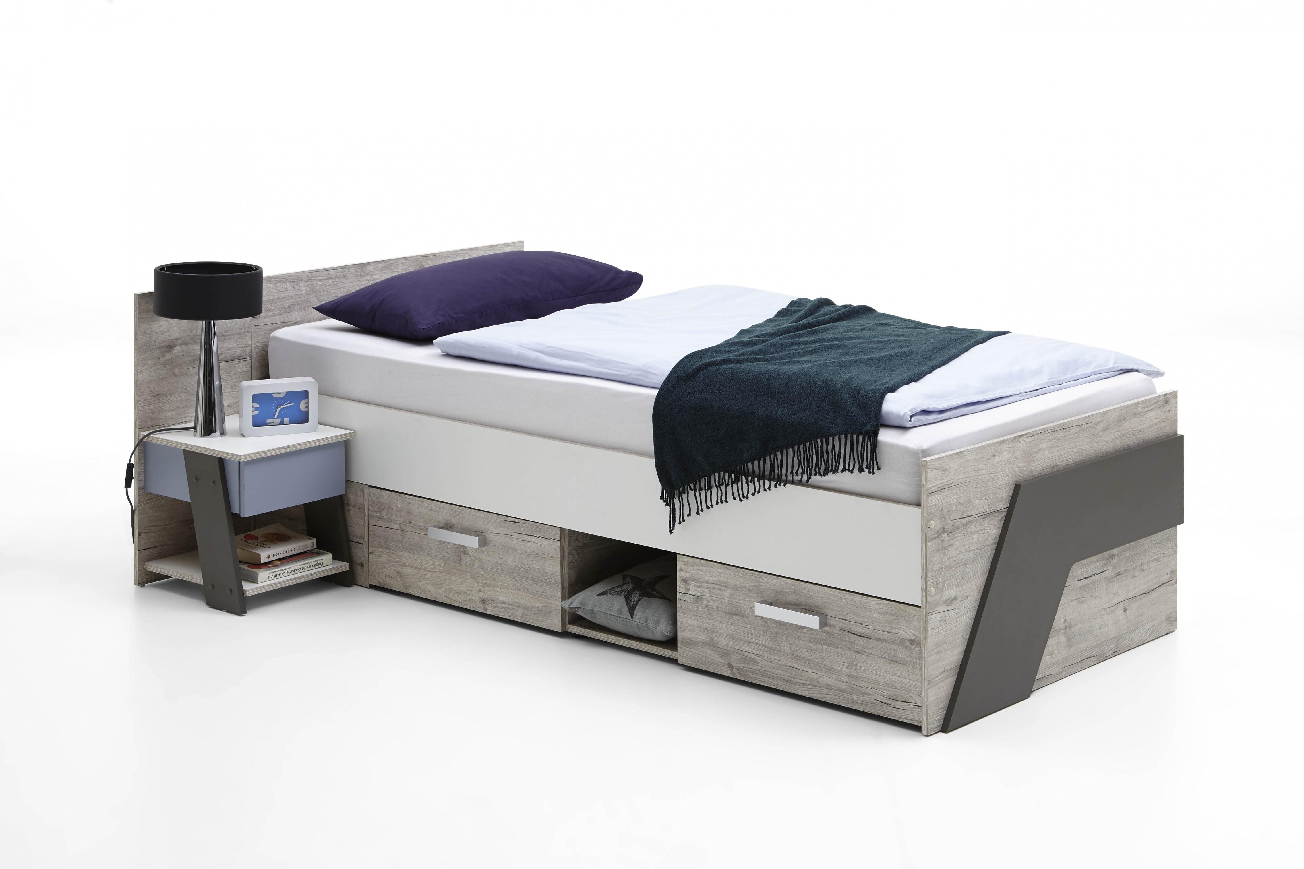 Nona 1 90X200 Bett Inkl 2 Schubladen Von Fmd Sandeiche  Weiß  Lava von Bett Weiß 90X200 Mit Schubladen Photo