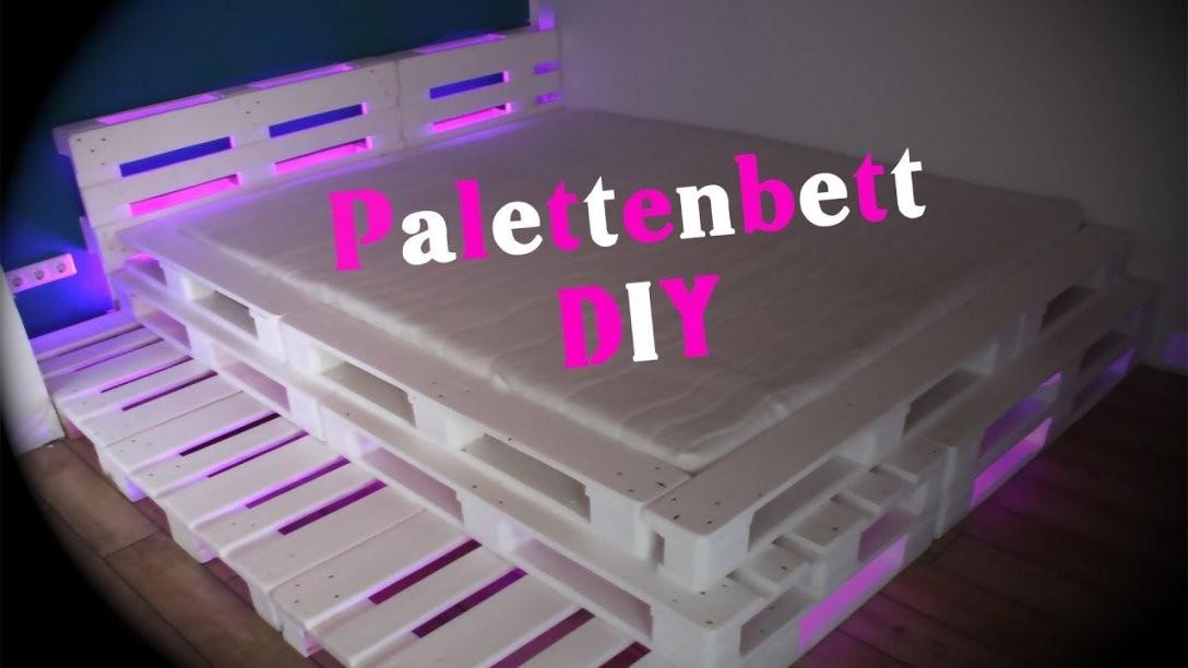 Palettenbett Mit Led Beleuchtung Diy  Jbtv  Youtube von Paletten Bett 200X200 Photo