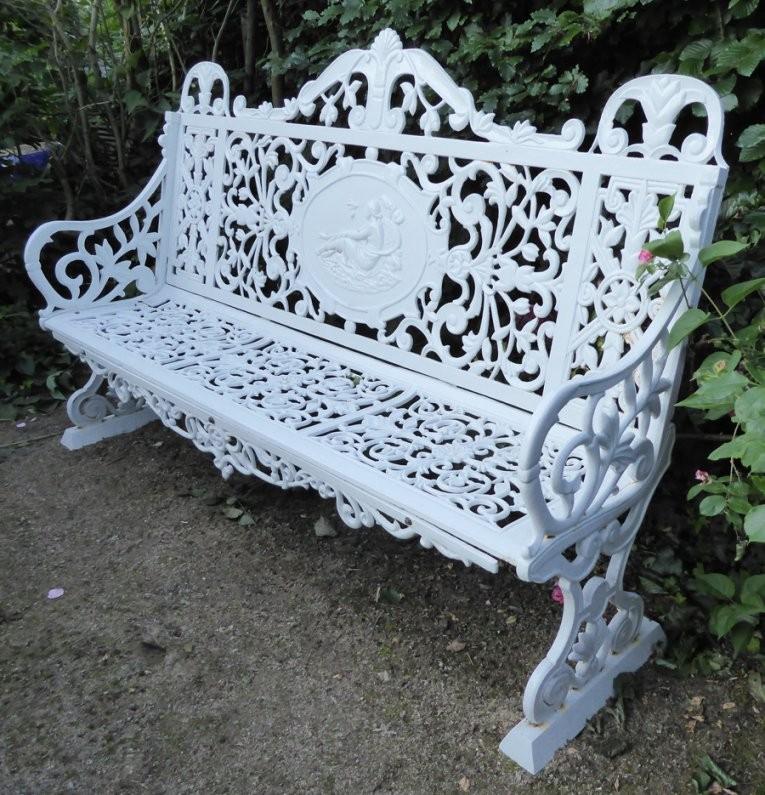 Parkbank Aus Gusseisen  Exklusive Gartenobjekte von Gartenbank Gusseisen Weiß Photo