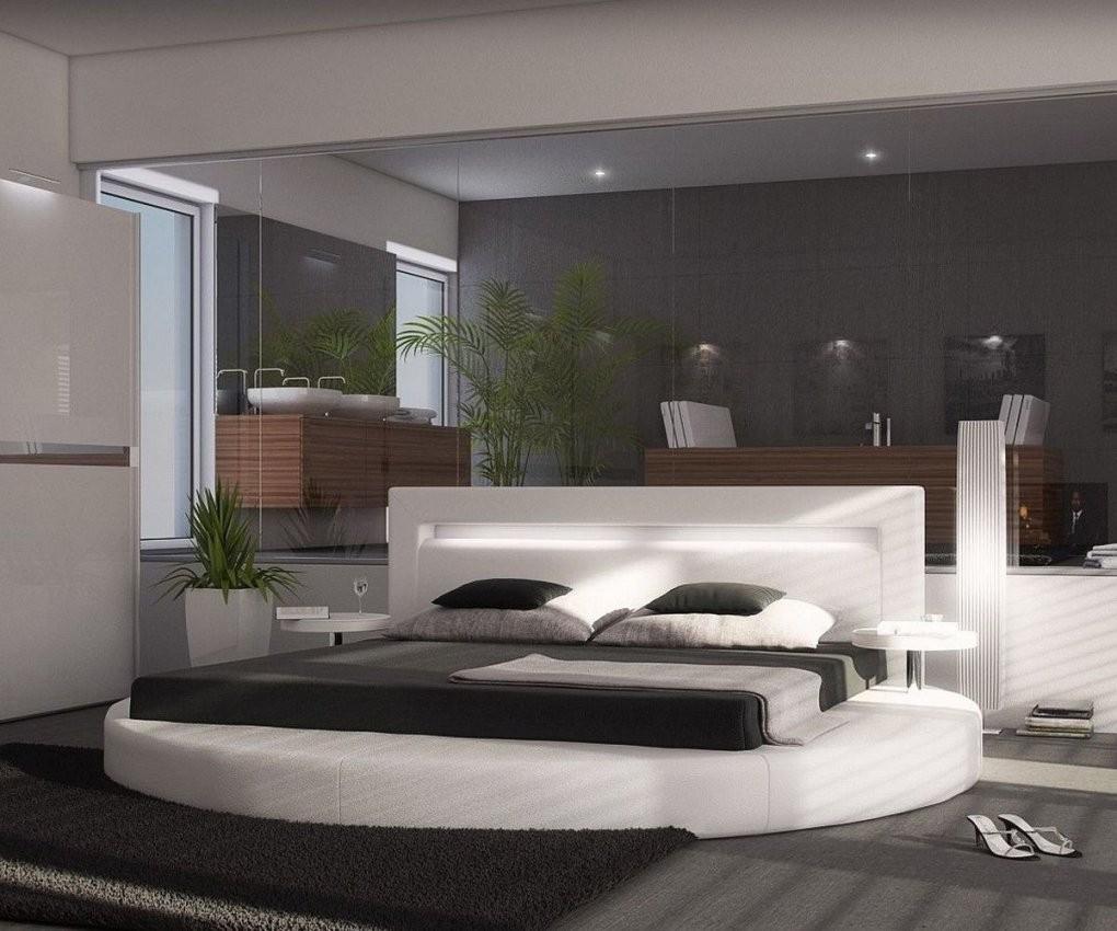 Polsterbett Arrondi Weiss 180X200 Bett Rund Mit 2 Nachtkonsolen Und Led von Modernes Bett 180X200 Bild
