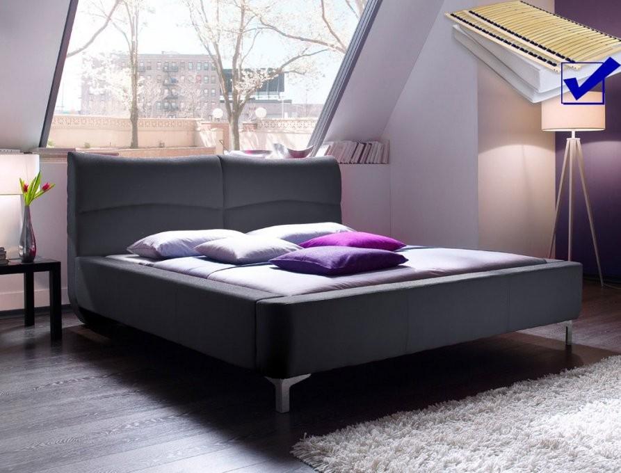 Polsterbett Cloude Bett 160X200 Cm Anthrazit Mit Lattenrost Matratze von Bett Mit Matratze Und Lattenrost 160X200 Bild