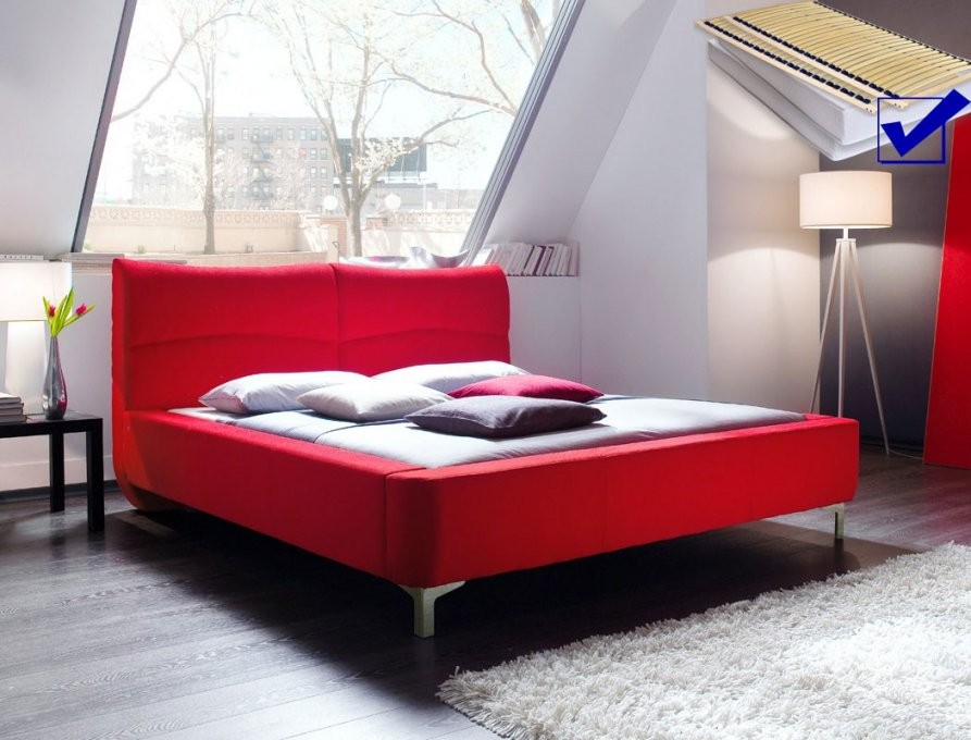 Polsterbett Cloude Bett 160X200 Cm Rot Mit Lattenrost Matratze von Bett 160X200 Mit Lattenrost Und Matratze Bild
