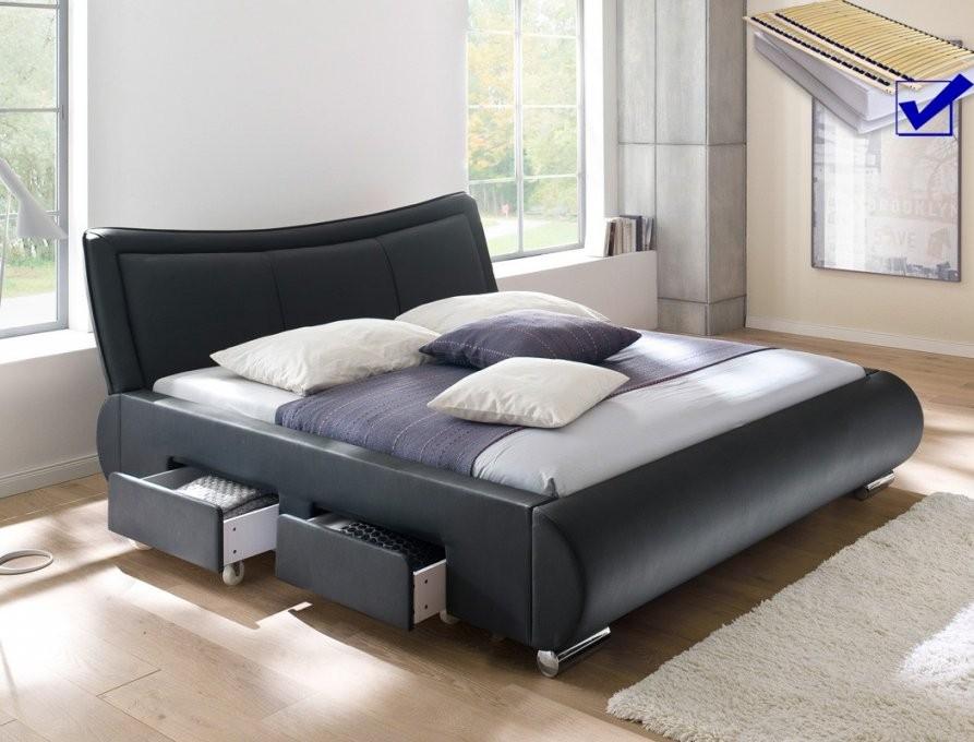 Polsterbett Lando Bett 180X200 Cm Schwarz Mit Lattenrost Und von Bett 180X200 Komplett Mit Lattenrost Und Matratze Bild