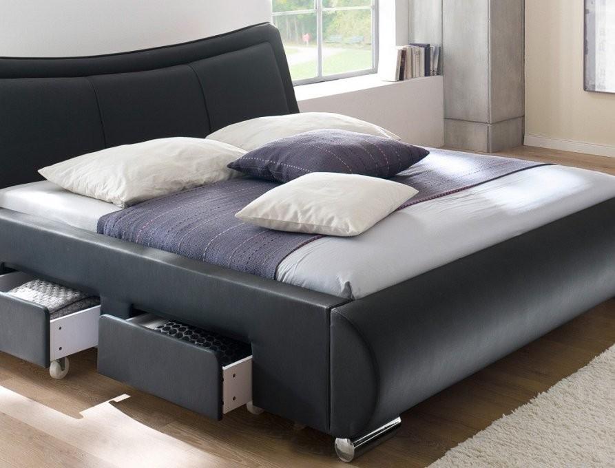 Polsterbett Lando Bett 180X200 Cm Schwarz Mit Lattenrost Und von Bett Mit Matratze Und Lattenrost 180X200 Bild