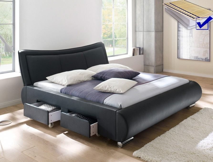 Polsterbett Lando Bett 180X200 Cm Schwarz Mit Lattenrost Und von Betten Komplett Mit Matratze Und Lattenrost Bild