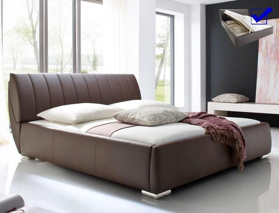 Polsterbett Luanos 180X200 Braun Kunstleder Rost Klappbar Doppelbett von Bett 180X200 Hoch Bild