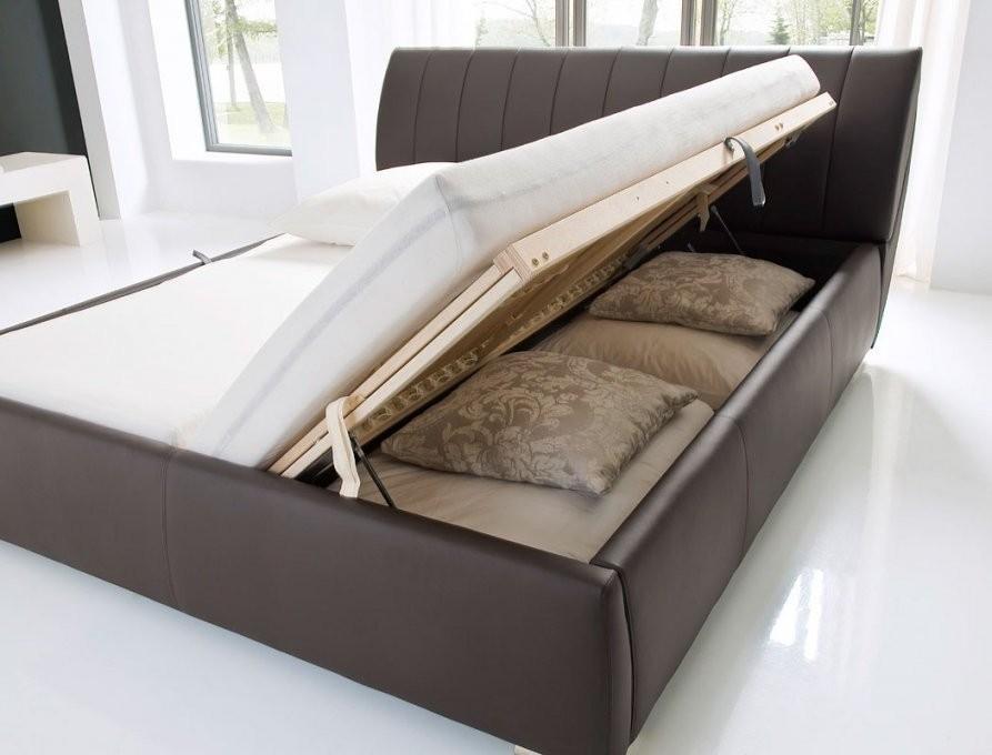 Polsterbett Luanos 180X200 Braun Kunstleder Rost Klappbar Doppelbett von Polsterbett Mit Bettkasten 90X200 Bild