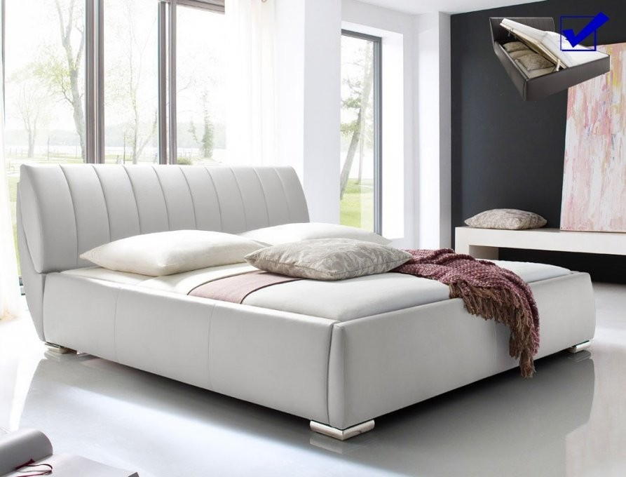 Polsterbett Luanos 180X200Cm Weiß Lattenrost Klappbar Doppelbett von Bett 180X200 Inkl Matratze Und Lattenrost Photo
