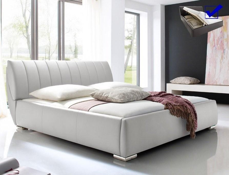 Polsterbett Luanos 180X200Cm Weiß Lattenrost Klappbar Doppelbett von Bett Mit Bettkasten 180X200 Weiß Bild