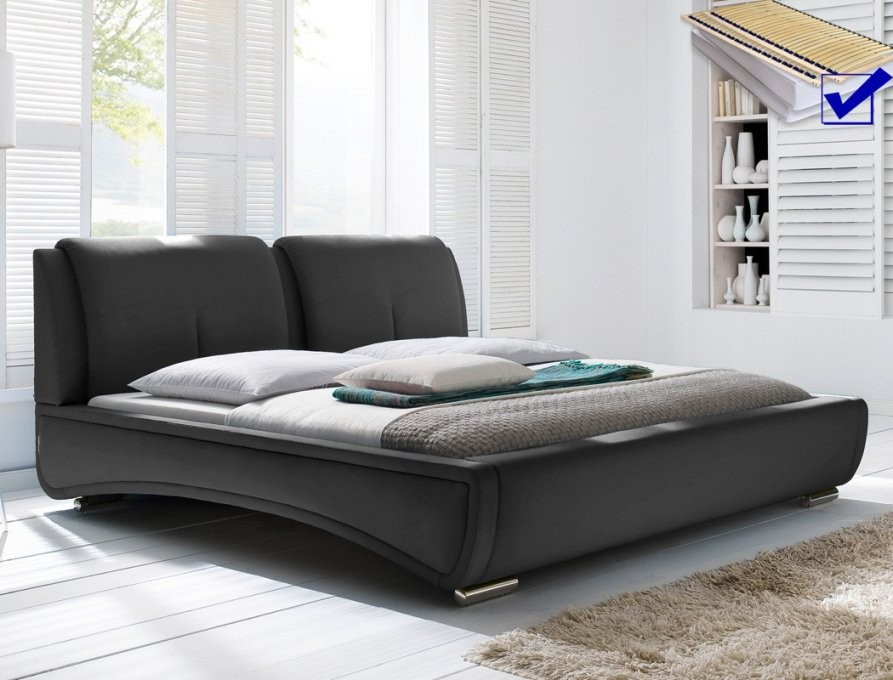 Polsterbett Syrus Bett 180X200 Schwarz Mit Lattenrost Matratze von Bett 180X200 Komplett Mit Lattenrost Und Matratze Bild