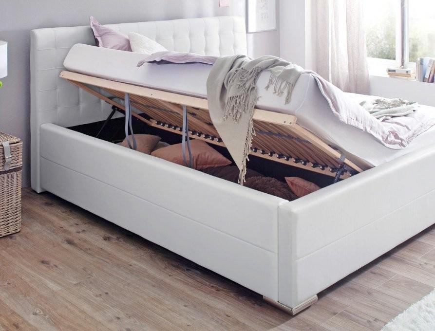 Polsterbett Toni 180X200 Kunstleder Weiß Bettkasten Rost Matratze von Bett Mit Bettkasten 180X200 Weiß Photo