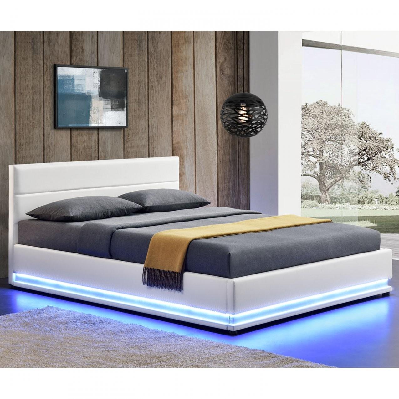 Polsterbett Toulouse 140 X 200 Cm Mit Rundum Led Und Bettkasten  Weiß von Bett Mit Led 140X200 Photo