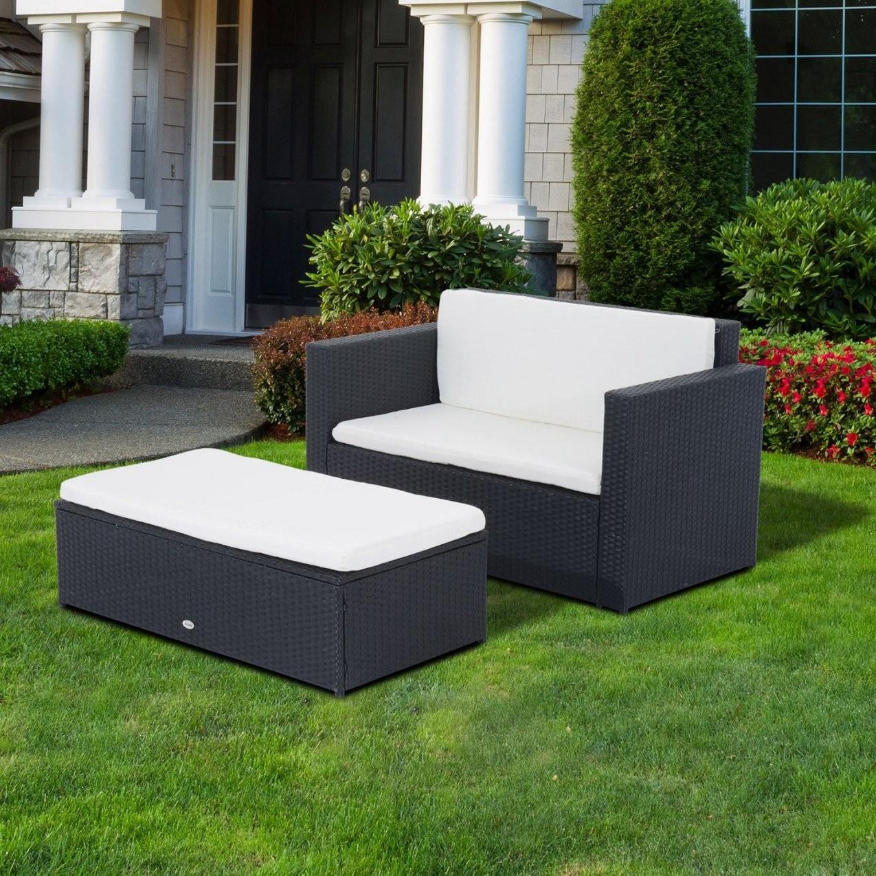 Polyrattan Gartenmöbel Doppelsofa Relaxlounge Mit Fußbank Schwarz von Polyrattan Sofa 2 Sitzer Bild
