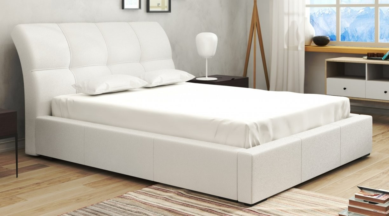 Portland Bett 140X200 Cm Kunstleder Webstoff Weiss  Emoebel24 von Bett 140X200 Weiß Kunstleder Bild