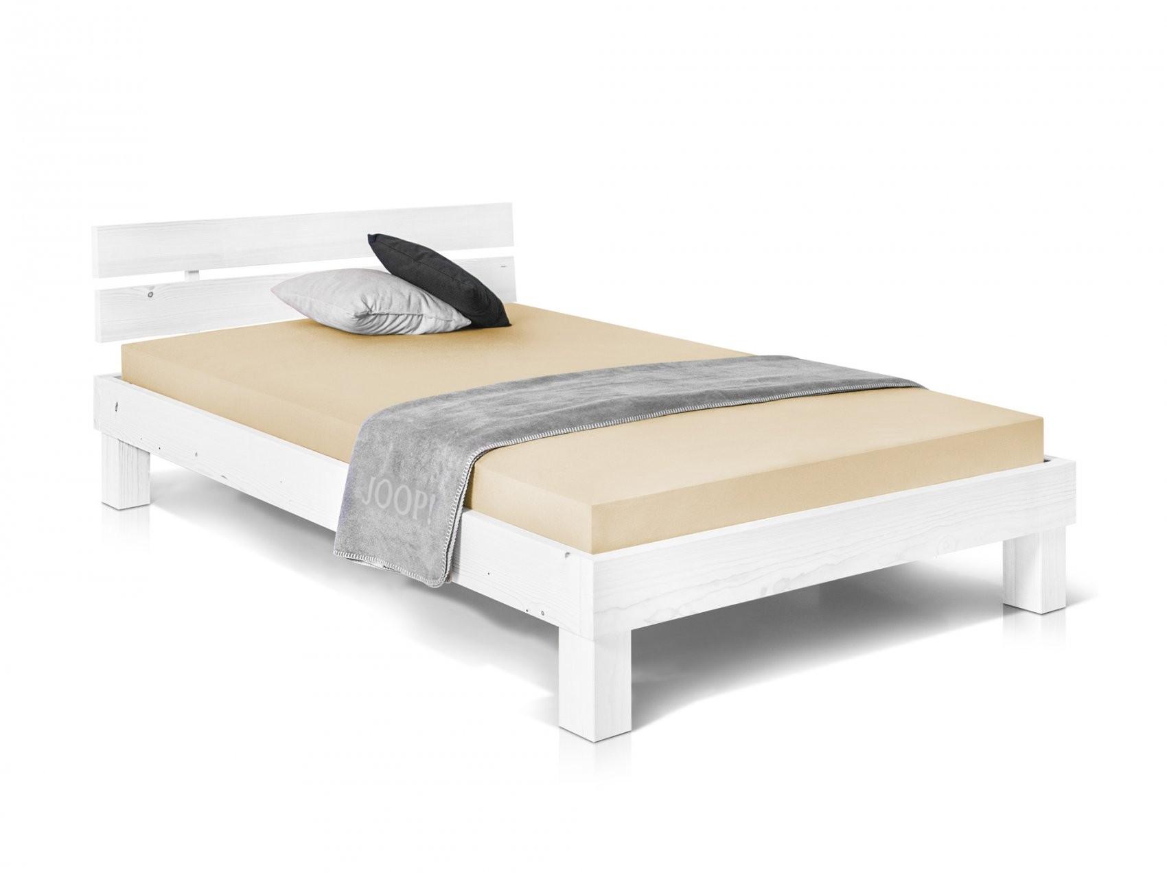 Pumba Singlebett Bett Futonbett 140X200 Fichte Massiv Weiß Weiss von Bettgestell 140X200 Weiß Holz Bild