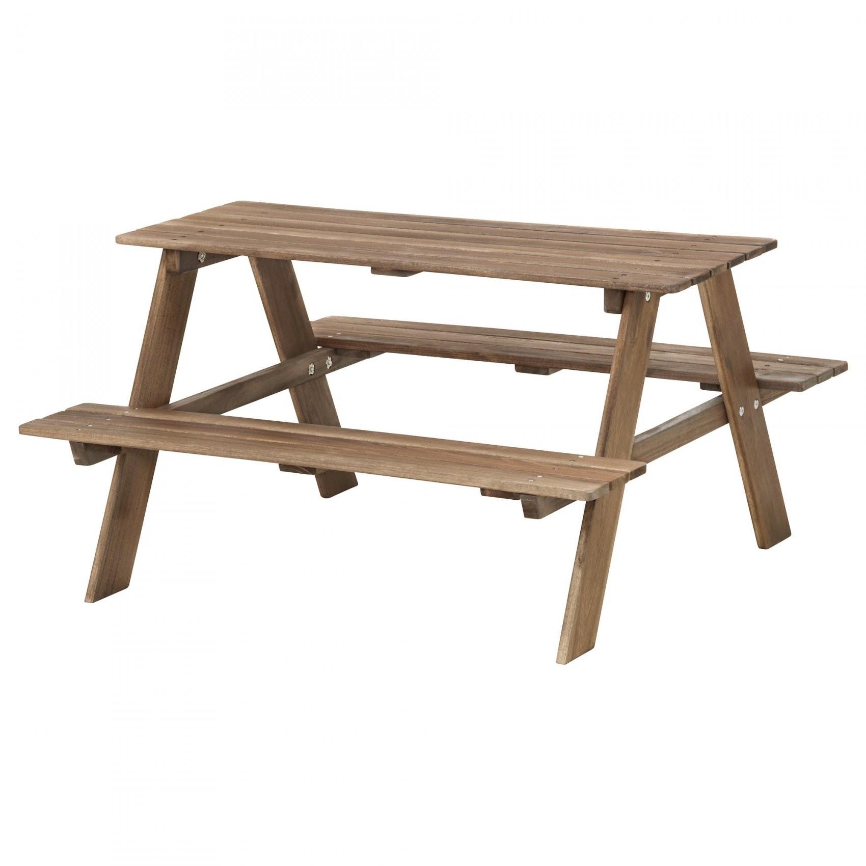 Resö Picknicktisch Für Kinder  Graubraun Lasiert Graubraun  Ikea von Sitzbank Kind Garten Bild