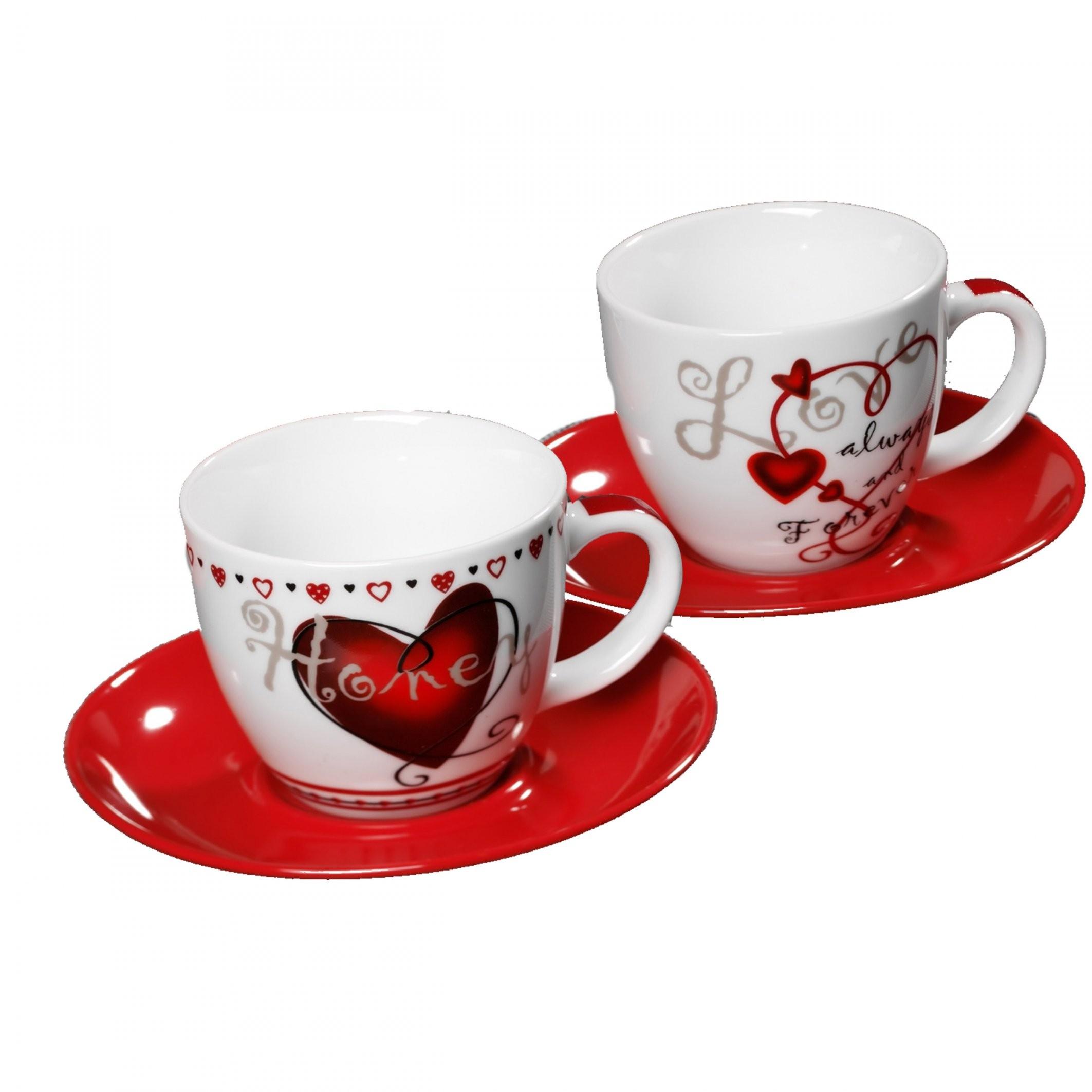 Ritzenhoff & Breker Forever Love Cappuccino Set 2 Cups & 2 Saucers von Ritzenhoff Kaffeetassen Set Bild