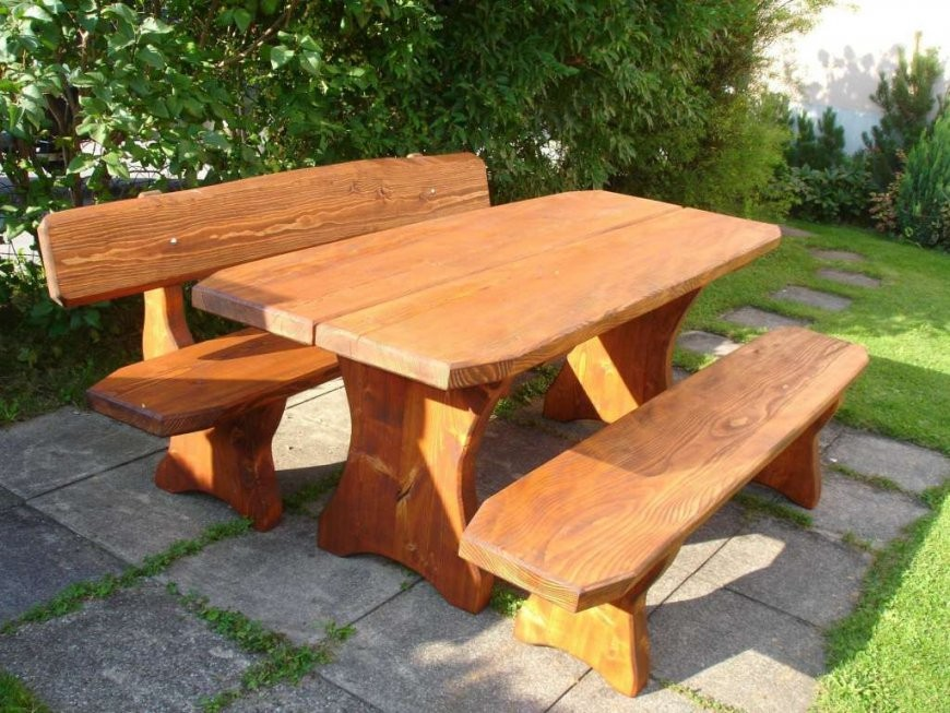 Rundholzbank Holzbank Tisch Garnitur Garten Bank Bänkli Top  Bänke von Holzbank Für Garten Bild