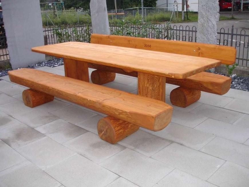 Rundholzbank Holzbank Tisch Garnitur Garten Bank Bänkli Top  Bänke von Holzbank Für Garten Photo