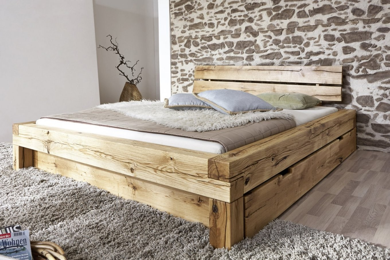 Sam® Balkenbett 180X200 Massivholzbett Mit Bettkasten Wildeiche von Echtholz Bett Mit Bettkasten Bild