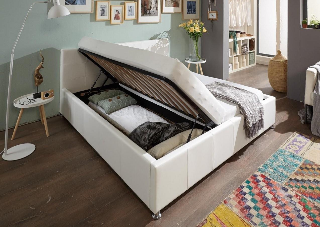 Sam® Polsterbett Weiß 180 X 200 Cm Mit Bettkasten Doppelbett Kira von Doppelbett 180X200 Mit Bettkasten Photo