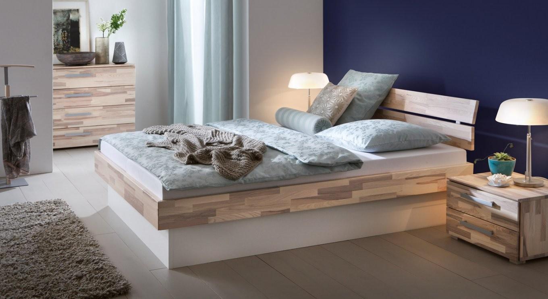 Sockelbett Aus Heller Kernesche Mit Bettkasten  Partido von Bett Mit Bettkasten 180X200 Weiß Bild