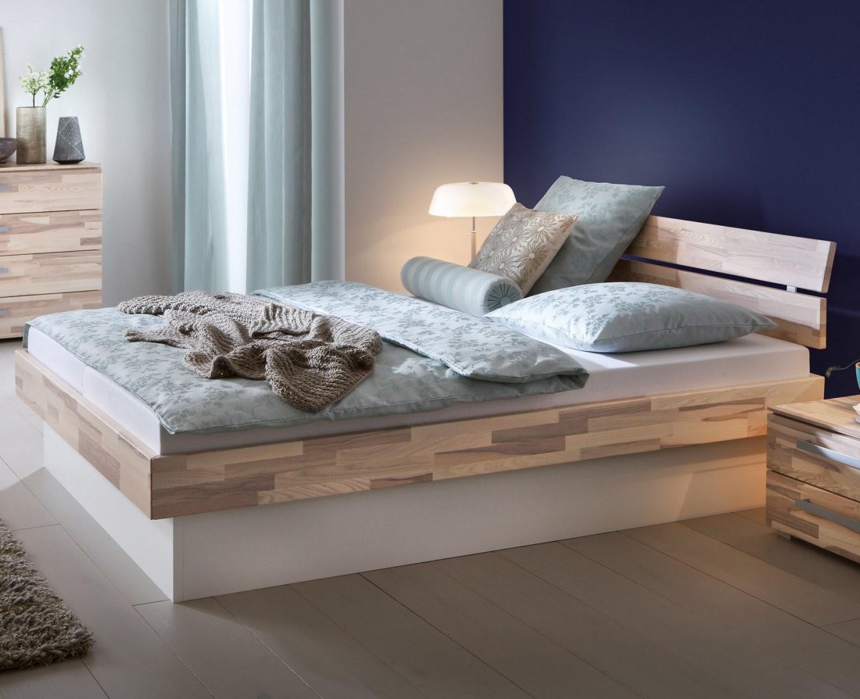 Sockelbett Aus Heller Kernesche Mit Bettkasten  Partido von Doppelbett Mit Bettkasten 180X200 Bild