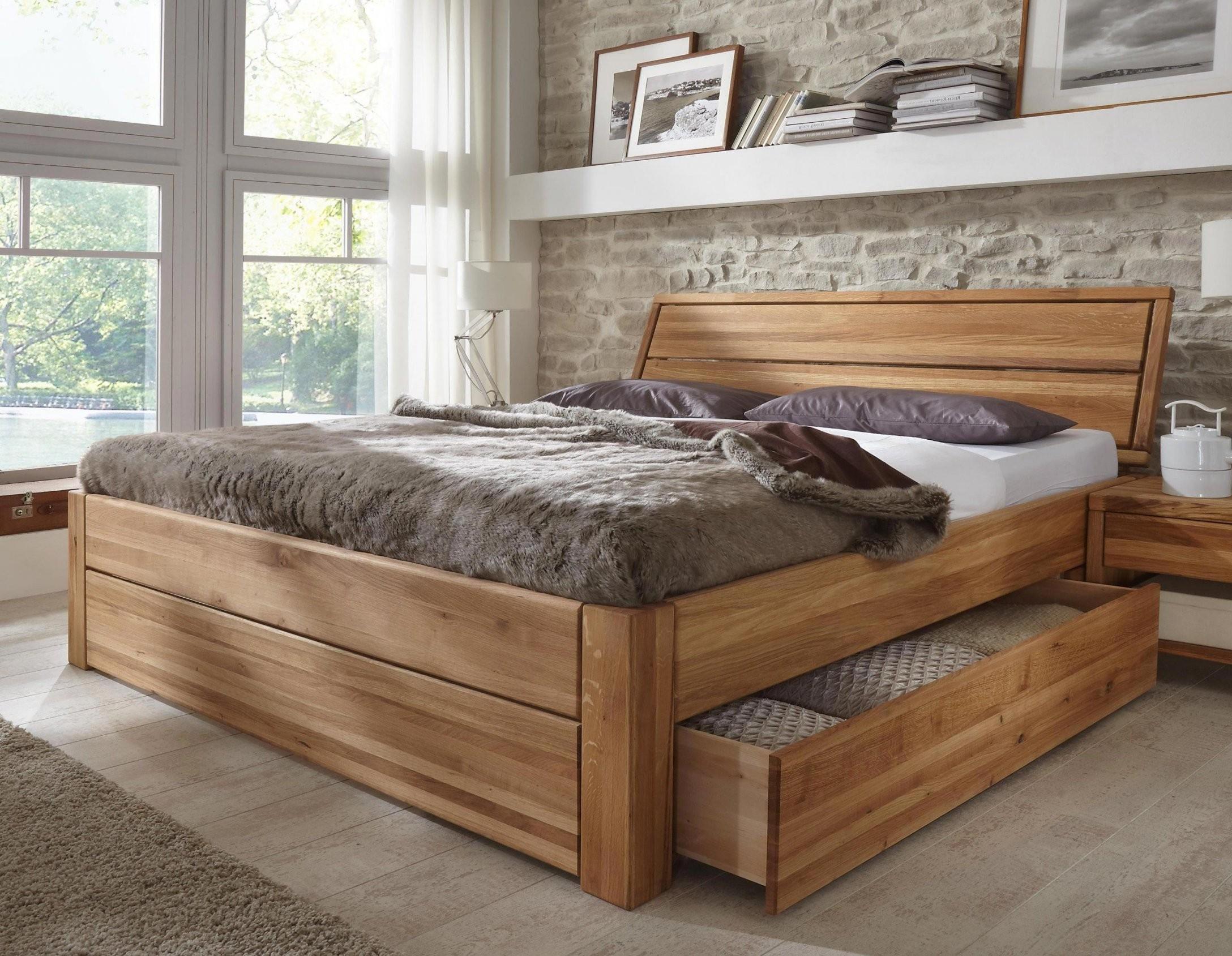 Stilbetten Bett Holzbetten Massivholzbett Tarija Mit Stauraum Eiche von Stauraum Bett 160X200 Photo