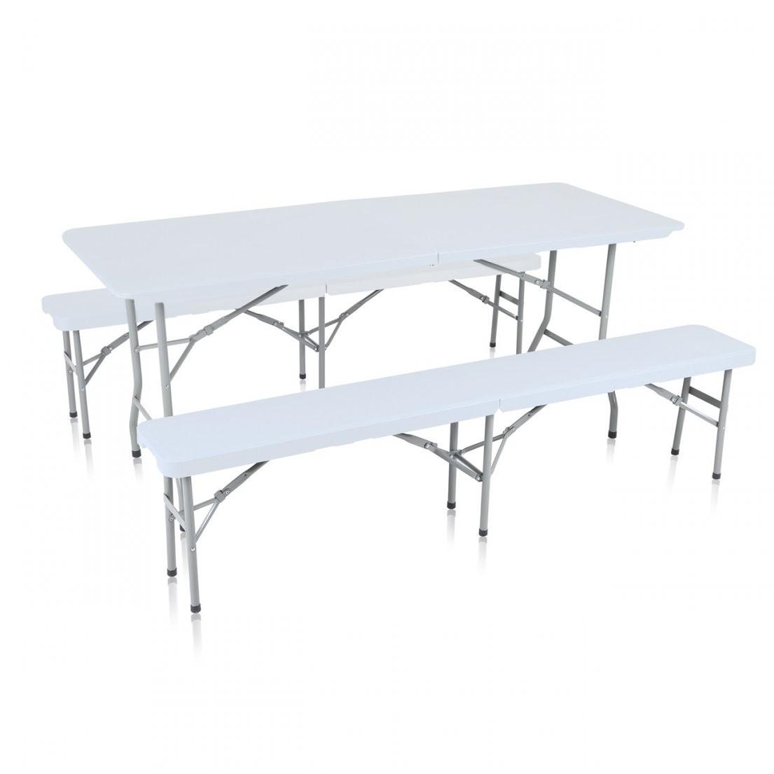 Strattore Bierzeltgarnitur Klappbar Mit Tisch Und 2 Bänken  Aus von Gartenbank Klappbar Weiß Photo