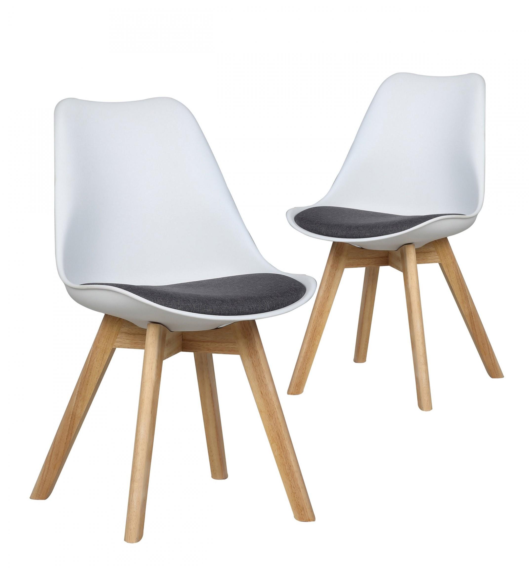 Stühle Malmö  Set (2 Stühle Skandinavisches Design Weißgrau Pu von Stühle Skandinavisches Design Photo