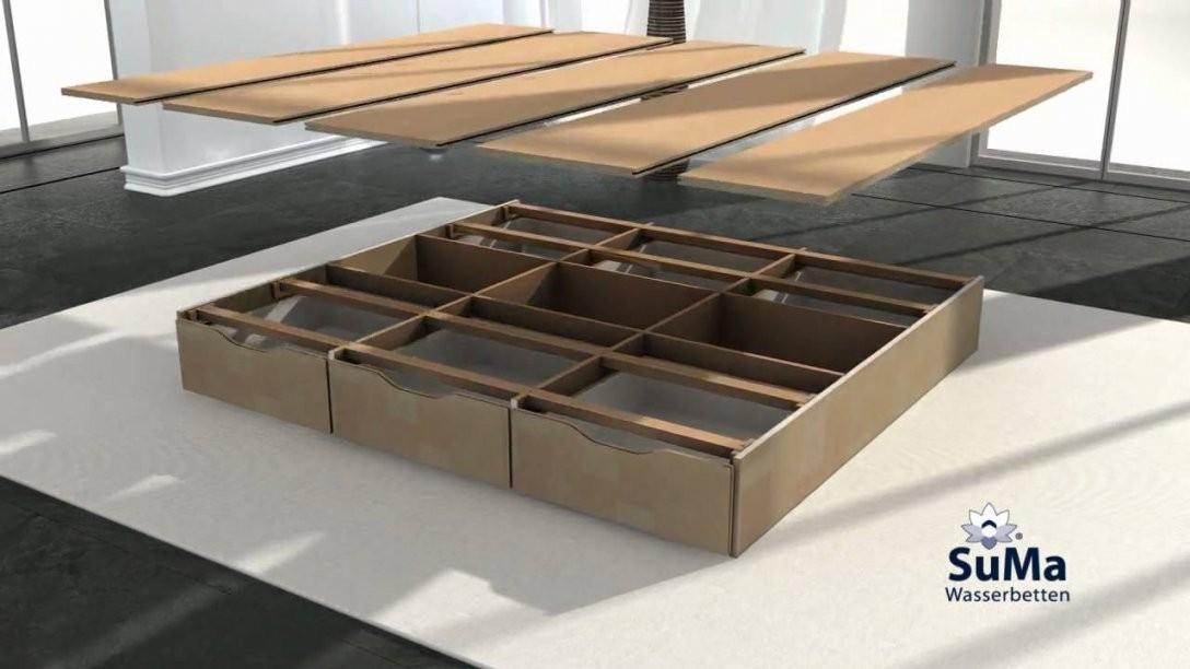 Suma Wasserbett Mit Schubladen Sockel Montieren  Youtube von Bett Mit Schubladen Selber Bauen Bild