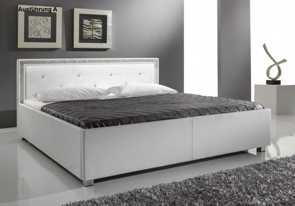 Supply24 Designer Leder Bett  Polsterbett Mia Weiss 3 Verschiedene von Bett 140X200 Weiß Günstig Bild