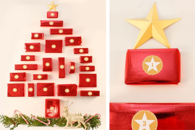 Tannenbaum Adventskalender Mit Kleinen Geschenken Bastelvorlage von Adventskalender Selber Machen Anleitung Bild
