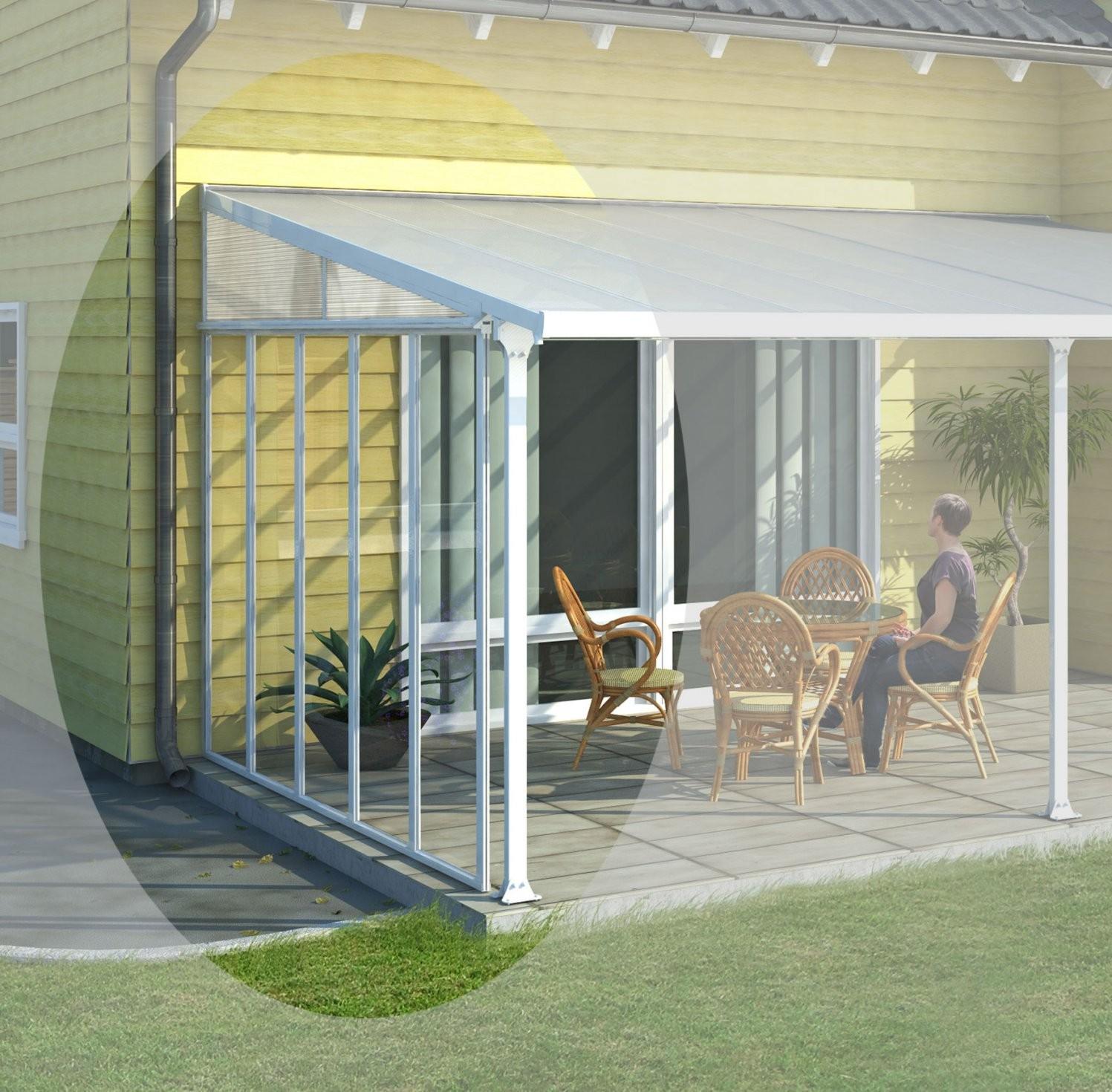 Terrassenüberdachung Aluminium Weiß  Haus Ideen von Seitenwand Für Terrassenüberdachung Selber Bauen Bild