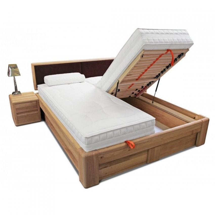 Verona Bett 160X200 Kernbuche Kopfteil Braun Mit Bettkasten Und von Polsterbett Mit Bettkasten 160X200 Photo