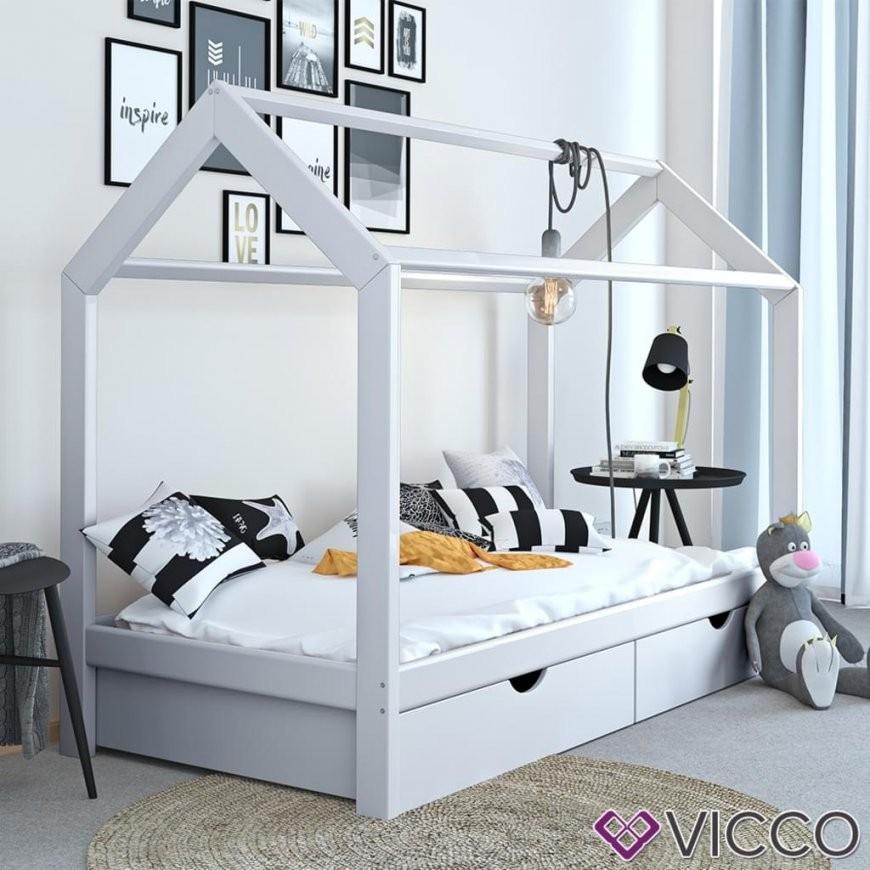Vicco Kinderbett Hausbett Weiß 90X200 Cm Schubladen  Real von Bett 90X200 Mit Schubladen Photo