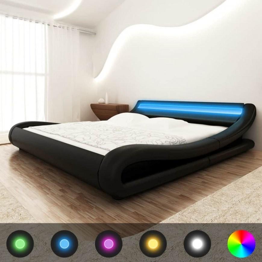Vidaxl Bett+Ledstreifen+Matratze Kunstleder 140X200 Cm Curl Schwarz von Led Bett 140X200 Bild