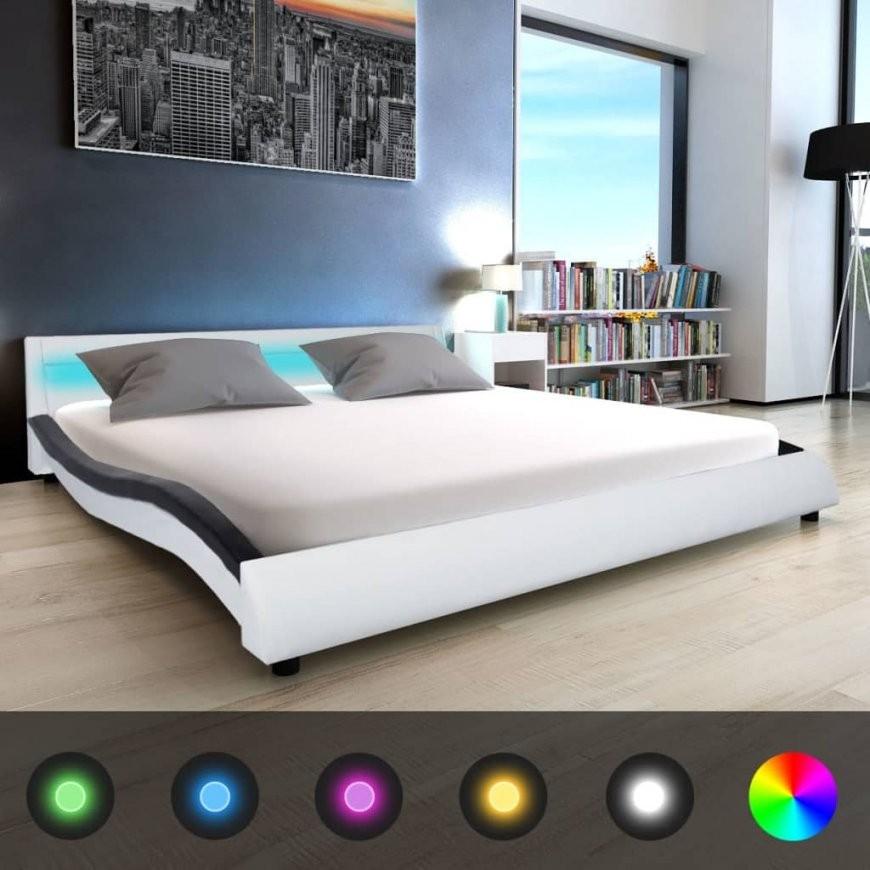 Vidaxl Led Bett + Matratze Kunstleder 180 X 200 Cm Weiß Und Schwarz von Led Bett Mit Matratze Photo