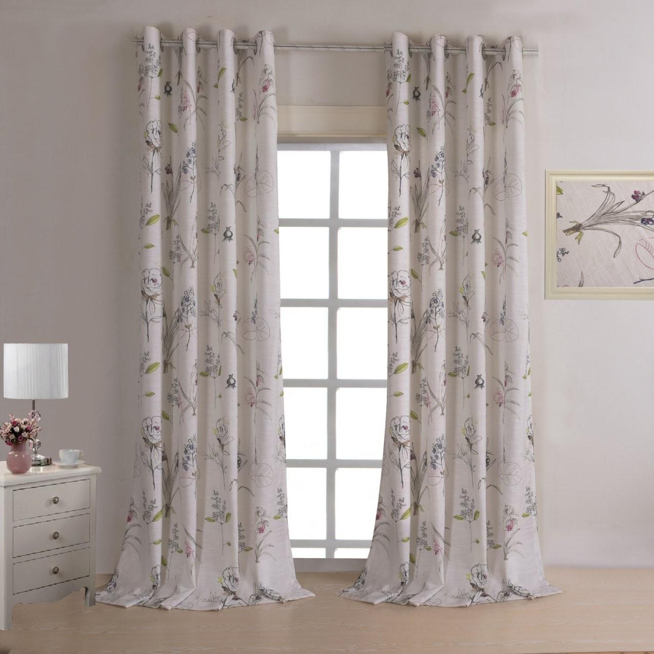 Vorhänge  Halbtransparente Gardinen  Vorhang Beige Bedruckt von Halbtransparente Gardinen Vorhänge Bild