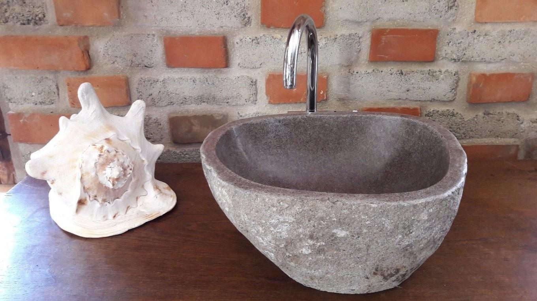 Waschbecken Lavastein Fluss Stein Bad Küche Waschtisch Wohnung von Garten Waschbecken Stein Photo