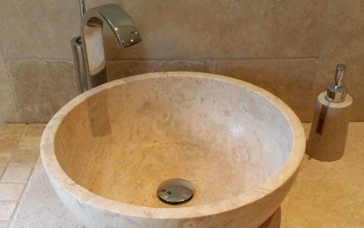 Waschbecken Rundbad Naturstein Travertin Light Kaufen von Kleine Runde Waschbecken Bild