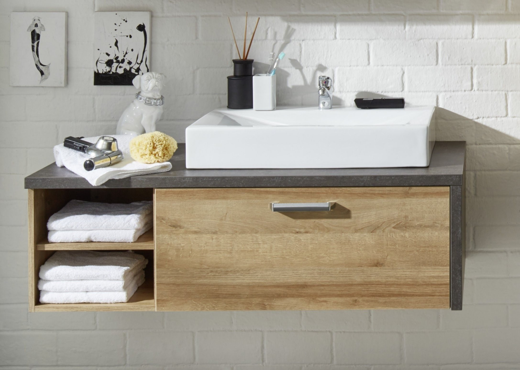 Waschbeckenunterschrank Eiche Riviera Honig Beton Woody 9301137 von Bad Unterschrank Ohne Waschbecken Bild