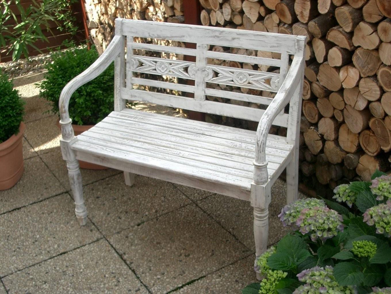 Weise Holzbank Garten Style  Parsvending von Weiße Gartenbank Holz Bild