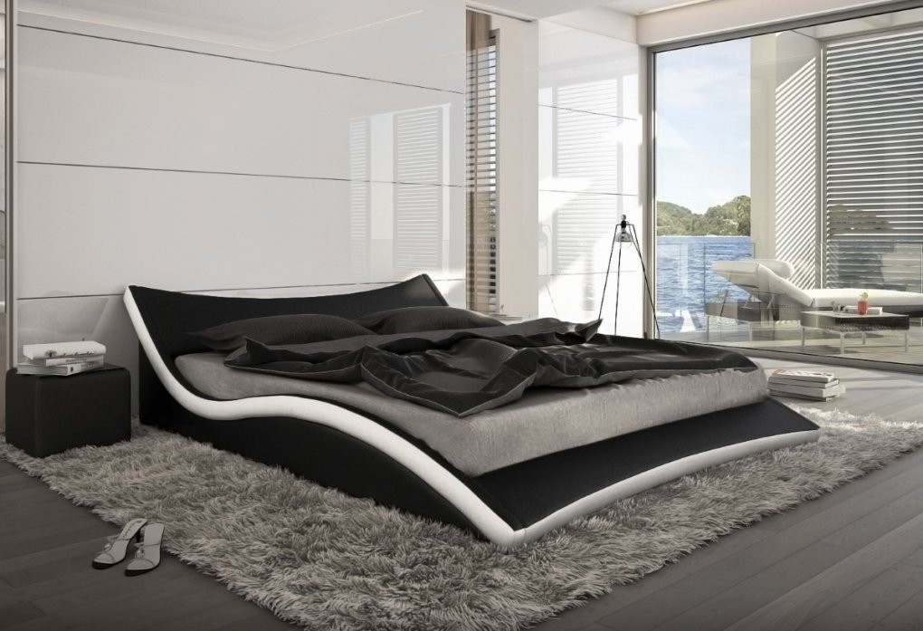 Wellenförmiges Designer Leder Bett Polsterbett Neapel Lederbett Weiß von Designer Bett 200X200 Bild