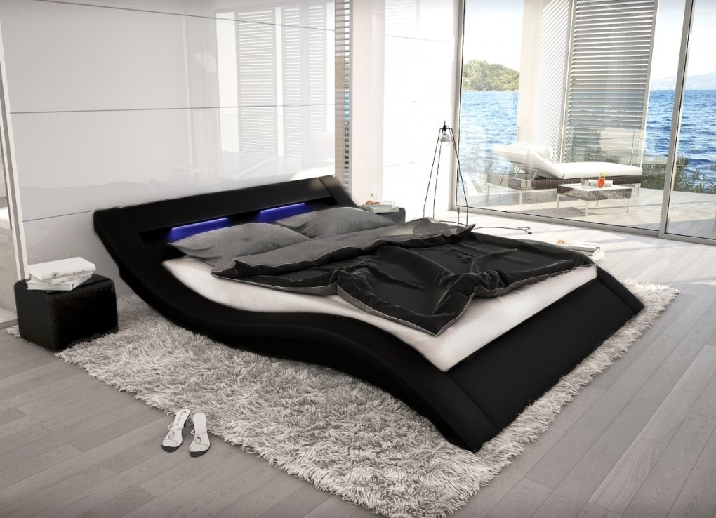 Wellenförmiges Lederbett Luxus Leder Bett Schwarz Weiß Mit Led von Bett Mit Led 140X200 Photo