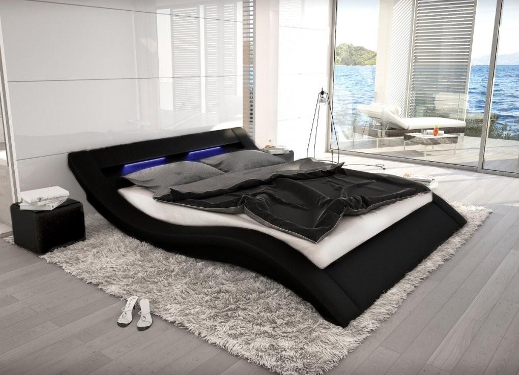Wellenförmiges Lederbett Luxus Leder Bett Schwarz Weiß Mit Led von Led Bett 120X200 Bild