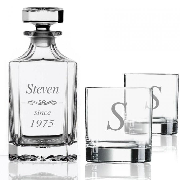 Whisky Cadeau Set Graveren Karaf & 2 Glazen  Brianto Cadeaus von Kaffeetassen Set Glas Bild