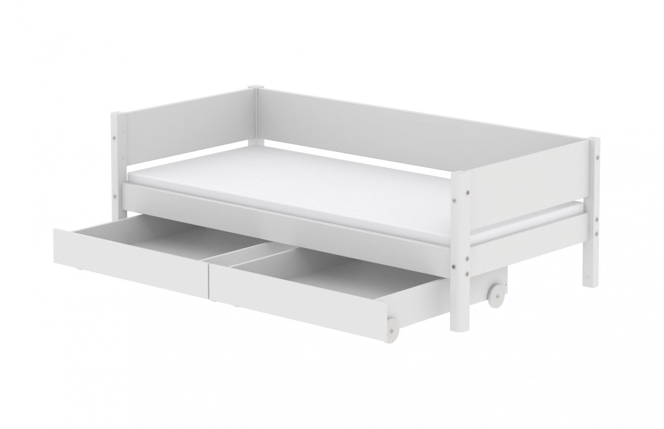 White Bett Mit Schubladen 90 X 200 Cm Von Flexa Weiß  Möbel Letz von Bett 90X200 Weiß Mit Schubladen Bild