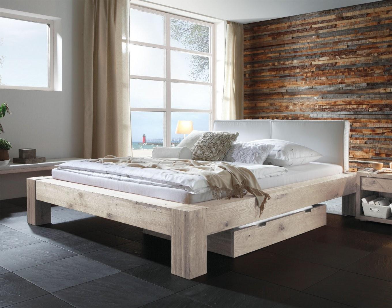 Wildeichenbett Z B In Weiß Mit Lederkopfteil  Maia  Betten von Bett Holz Weiß 180X200 Photo